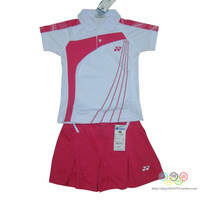 Performance clothing children wear clothes badminton sportswear Set for girls rose red culottes suit