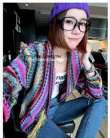 Free ShippingNational wind in ladies ' striped color plus long knit sweater