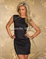 New Rock Black Design Dress Top Fashion Faux Leather Dance Club Wear Style Patchwork Women Clothes Novelty Zipper Dresses