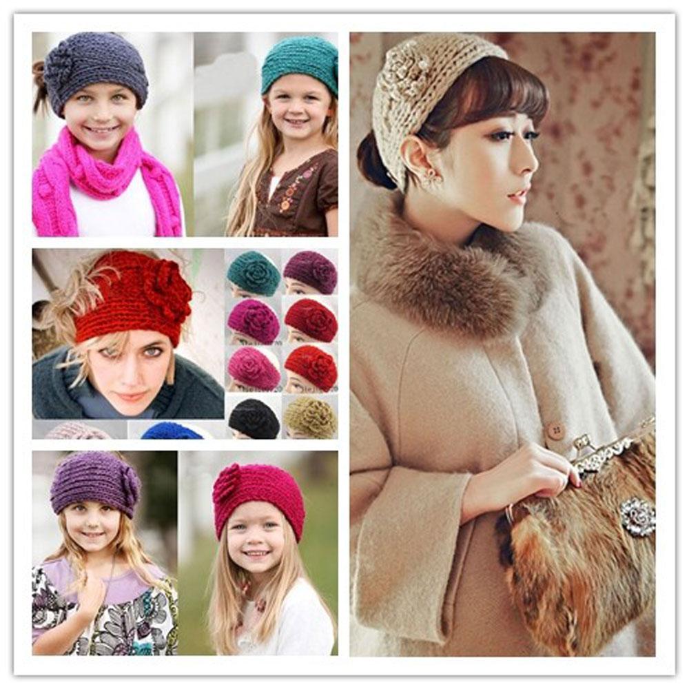 Women Knitted 3D Flower Headband Crochet Winter Ear Warmer handmade Hairband(China (Mainland))