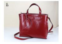 free shipping high quality full genuine leather women's oil leather tote shoulder bag work hand bag vintage designer handbag