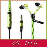 Cheapest popular high quality zipper earphone metal zipper earphone