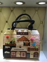 Women's Handbag Fashion Cute Romantic Cartoon Handmade Patchwork Panelled Messenger Bag Lychee Texture PU Leather 4 Colors 2014