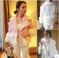 Wool tweed coat  female Korean 2014  new winter jacket female Korean woolen fox Plush mosaic of large lapel long sleeved coat