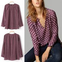 2014 Women Vintage Cashew Flower Print Long-sleeved Shirt Paisley V-neck Blouse Tops