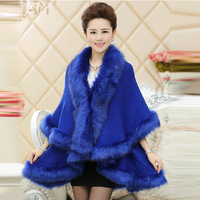 Original 2014 new winter women cashmere coat jacket imitation fox fur cape shawl long section thick knit cardigan free shipping