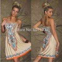 M L XL  XXL  2014 New Summer Dress Women Retro 1960s 1970s Vintage Strapless Paisley Printed Dress Casual Beach Dress