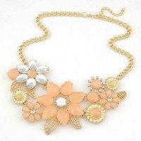 Charm Shourouk Flower Gem Gold Chain Collar Choker Statement Necklaces & Pendants New 2014 Fashion Jewelry Women Wholesale N192
