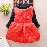 4pc/lot baby girls dresses winter fleece thicken cristmas kids dresses party children clothes flower wholesale panya sll01