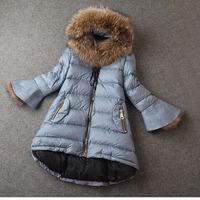 Winter White Duck Down Jacket Warm Coat 2014 Women's Flare Sleeve Raccoon Fur Hooded Long A-Line Parkas Plus Size Outerwear