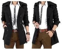 Free Shipping Long bi-fold men's coats in England in the Korean version of slim trench coat
