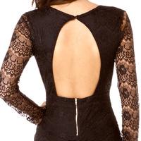 2014 fashion  long-sleeved V-neck sexy low-cut dress hip pockets close