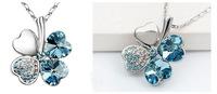 Silver Plated Crystal Peach Heart Lucky Four Leaf Clover Pendant Necklace 64148