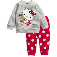 Retail Hello Kitty Girls Clothing Sets Children's Cotton Set Kids Long Sleeved Blouse+Pant 2-Piece Suit Set Kids Pajamas C20