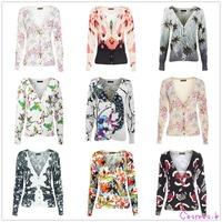 Women V Neck Floral Print Cardigan Cotton Sweater Knitwear Colorful Botton Jacket k5351/k5353...