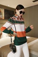 Women autumn spring Winter basic casual home dress Korean Style Basic Long Pullover scarf collar knit Cardigan Jumper Sweater