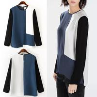 2014 Trendy Women Long Sleeve Blue Contrast Color Blocking Splice Chiffon Blouse Shirt Tops
