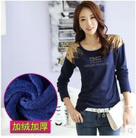Fashion New 2014 Autumn and Winter Plus Velvet Thickening Basic Female Long-sleeve T-shirt