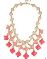 Europe and the exaggerated gradient short necklace square jewel multi - chain / Winter new clavicle 2 pieces one lot XL353