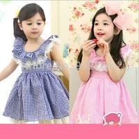 2015 new children dress baby clothing fashion Fluffy lattice summer Princess Dress,14NOV21