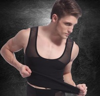 2014 men's slimming body shaper men spandex nylon abdomen belly weight loss vest waist cincher back cross tank tops black white
