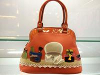 Fashion Women's Shell Tote Bags Handmade Patchwork Panelled Beading Cute Cartoon Handbags 2 Colors 2014 Latest