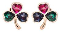 Sumao Women's Leaf-shape Stud Earrings Rose