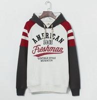 Free Shipping Men hoodies 2014 new men's casual stylish college style fleece hoodie sweatshirt /3 color & M-2XL