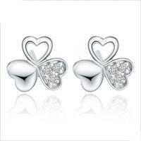 2014 new brand S925 Sterling Silver Plating Pure Clear Swiss Zirconia Diamonds Heart Clover Women Stud Earrings Free Shipping