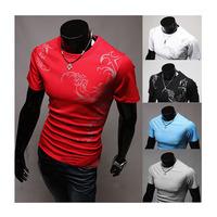 Free Shipping hot, 2014, wholesale fashion tattoo men's round neck short sleeve printed t-shirt
