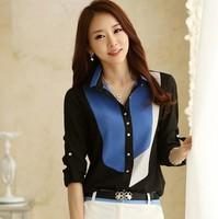 Autumn Linen chiffon long sleeve women shirt blouses, Turn down collar Plus size Contrast color women's office top shirts
