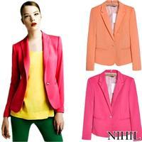 2014 new spring pink blazer suits high street fashion women's blazers ladies brand jacket clothing single button cardigan Coat