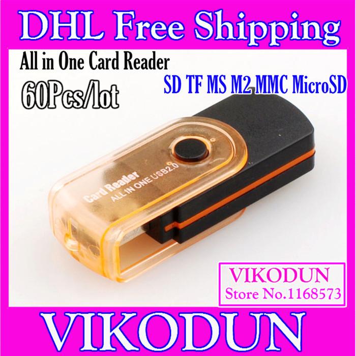 memory stick duo adaptor usb 2.0 all in 1 multi card reader memory card memory stick micro m2 Free DHL micro sd adapter sim usb(China (Mainland))