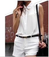 Free Shipping2014 summer styles dresses Joker collar sleeveless chiffon shirt