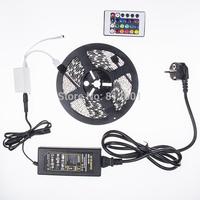 New!!! RGB Led Strip 5050 Waterproof 5M SMD 300 LEDs/Roll +24 keys IR Remote+12V 6A Power Adapter white blue green redfree shipp
