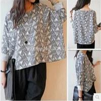 Hot Sale Women Clothing New 2014 Fashion  T Shirt Plaid Bottoming Shirt Women Female Sweater Hoodie Size Loose Blouse