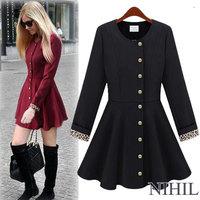 Long Sleeve Black Women's coats Outwear trench coat for women women coat Ladies Single Breasted Long Trench 876A