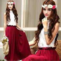 2014 Autumn Vintage Elastic Waist Vestido De Renda Elegant Sleeveless Lace Spliced Plus Size Maxi Dress 9144