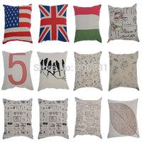 45x45cm Mixed Styles Home Decor Linen Cotton Pillowcase Four Season Sofa Seat Car Cushion Cover Throw Case Waist Cushion