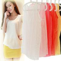 2014 New Women's Casual Tops Basic Chiffon Shirts Sleeveless Vest Candy 16 Colors Plus Size S-XXL