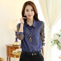 2014 Autumn New Hot Fashion Korea Fashion Women Dress Slim Striped Cowboy OL Commuter Long Sleeve Shirt