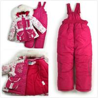 2015 Big promotion Children's Winter Clothing Set baby girl Ski Suit Windproof Down Coat Flower Warm Coats Fur Jackets+Bib Pants
