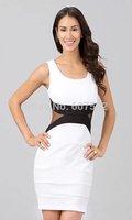 2014 New Fashion Women Sexy Bandage Sleeveless Mesh Black Blue Bodycon Dress Patchwork Back Zipper Summer Dresses