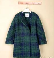 Women Wool Coat 2014 Winter Woolen Overcoat Fashion Trench Plaid Long Warm Woolen Coat  Hot Free Shipping 3095
