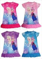 Retail New 2104 frozen dress fashion girl dress for Elsa & Anna Fantasy children's wear summer kids clothes 316