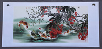 Oriental Asian Original Traditional Chinese famous watercolor painting  Nine fish Feng Shui unique gift wedding decoration