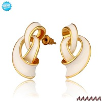E682 Wholesale Nickle Free Antiallergic 18K Real Gold Plated Earrings For Women New Fashion Jewelry Free Shipping