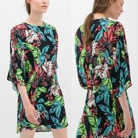 New Style Vintage Dress Leaf Printed dress -chiffon Long Sleeve Dress O-neck Women Summer Dress