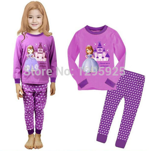 Princess Baby Kids Girls Nightwear Pajamas Sleepwear Set Age 1-8Y(China (Mainland))