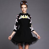 S-5XL Brand 2014 Fall winter Women Stand Collar 3/4 Sleve Flower Embroidery Gauze Slim A-line Dresses Black Plus Size XXXL 4XL